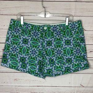 Old Navy Low Rise Short Shorts Sz 12 Paisley Green